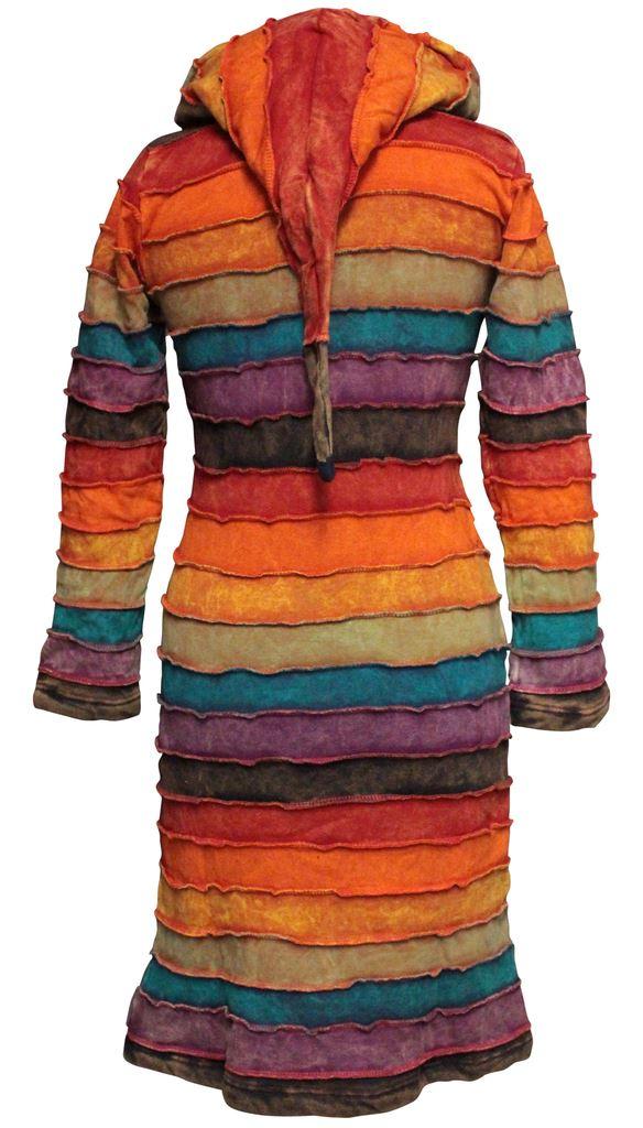 Rainbow-Striped-Pixie-Emo-Hoodie-Women-Sweater-Over-Coat-Long-Hippie-Jacket-Tops thumbnail 3