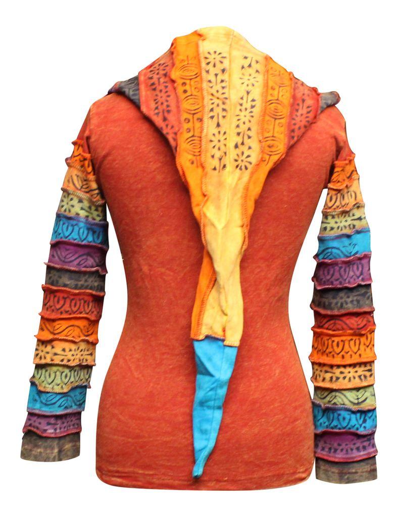 Women-039-s-Sun-Patchwork-Pixie-Hippy-Ribs-Hoodie-Light-Cotton-Hippie-Faded-Jacket thumbnail 13