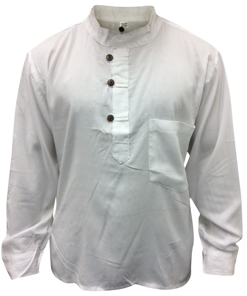 Men Hippie Linen Collarless Grandad Shirt Full Sleeve Boho