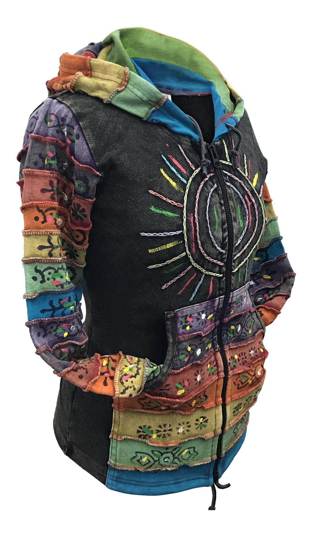 Women-039-s-Sun-Patchwork-Pixie-Hippy-Ribs-Hoodie-Light-Cotton-Hippie-Faded-Jacket thumbnail 3