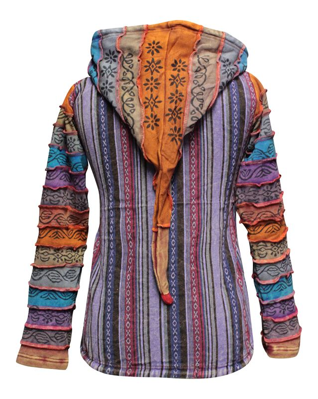 Details about Rainbow Sleeved Fleece Lined Women Hippie Jacket Festival Gypsy Boho Goth Hoodie
