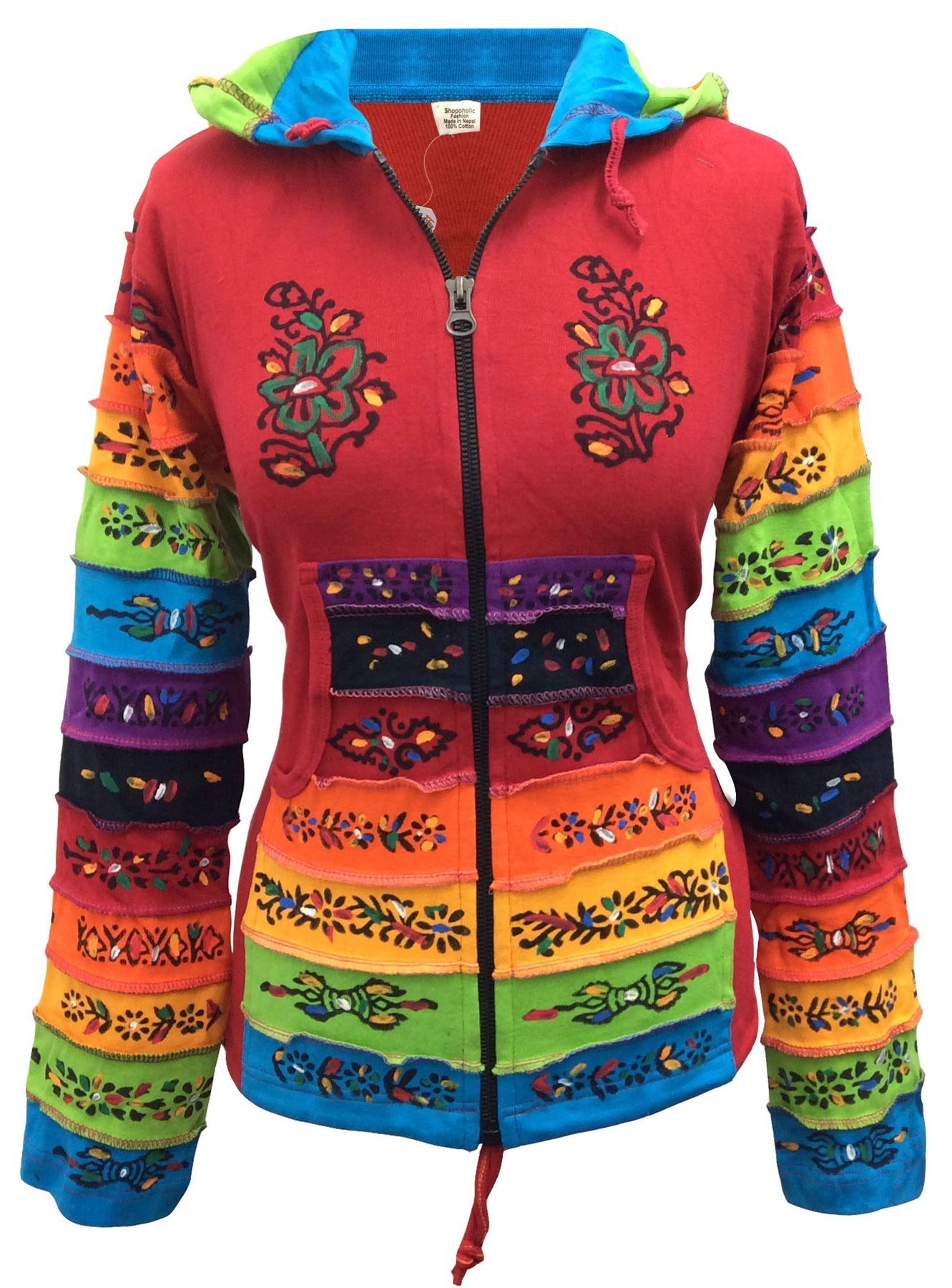 Women-Rainbow-Sleeved-Flower-Patch-Hoodie-Hippy-Light-Weight-Jacket thumbnail 13