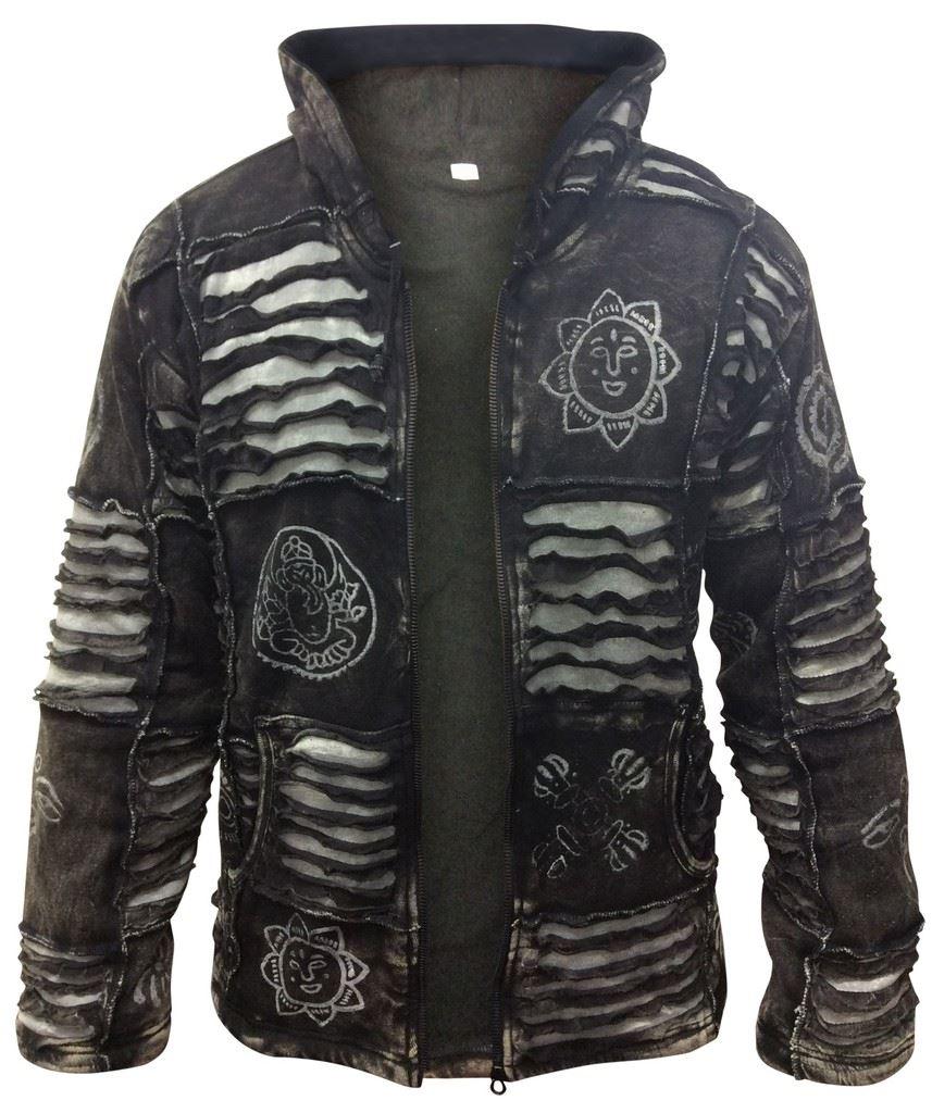 Fleece Lined Mens Winter Gothic Warm Jacket Hippy Boho Hoodie Jumper