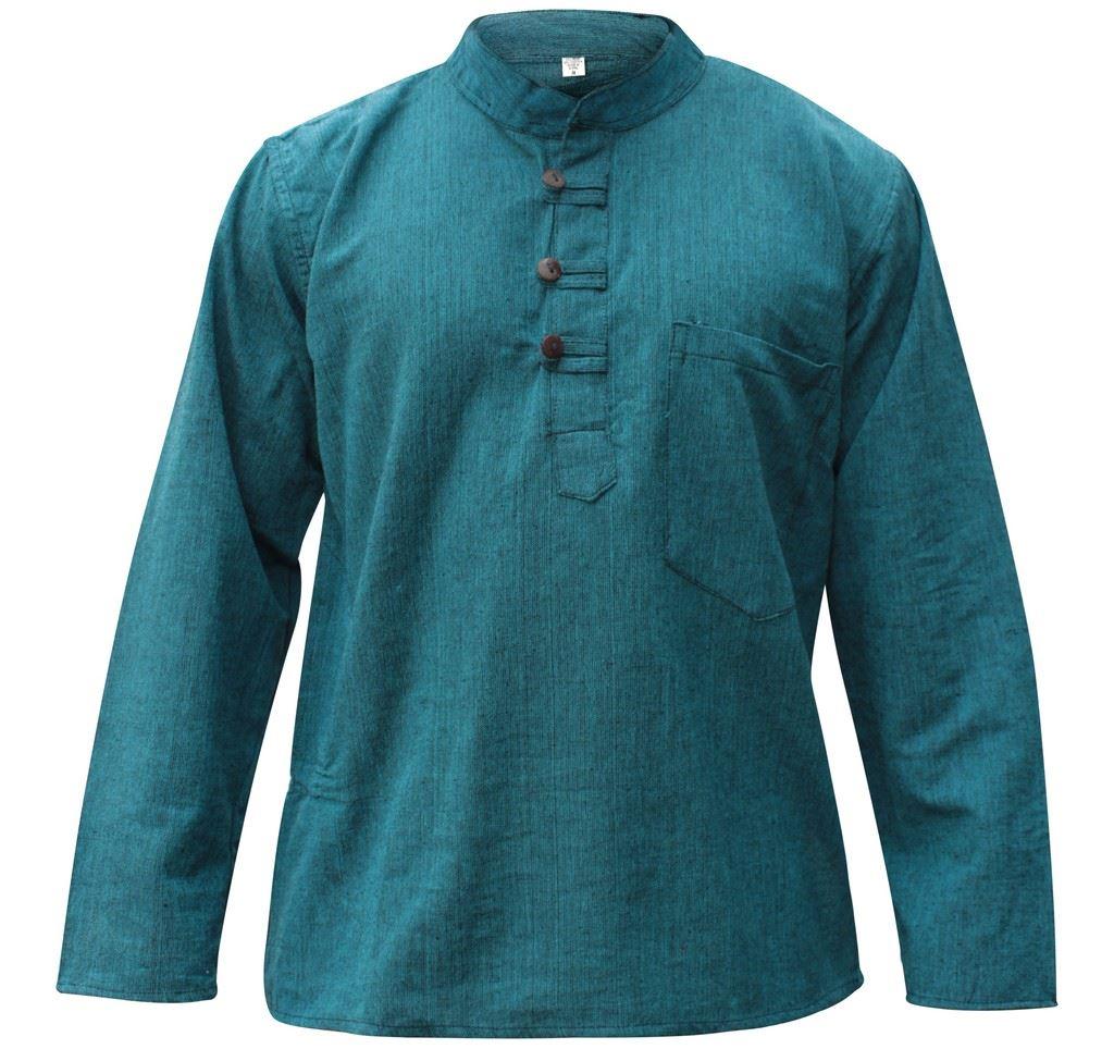Mens-Plain-Hemp-Collarless-Grandad-Shirt-Full-Sleeved-Hippie-Summer-Light-Tops thumbnail 25