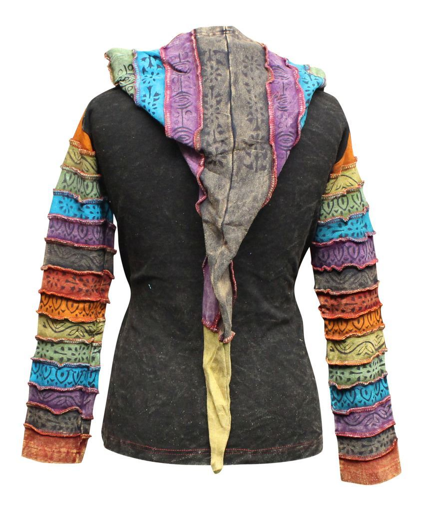 Women-039-s-Sun-Patchwork-Pixie-Hippy-Ribs-Hoodie-Light-Cotton-Hippie-Faded-Jacket thumbnail 4