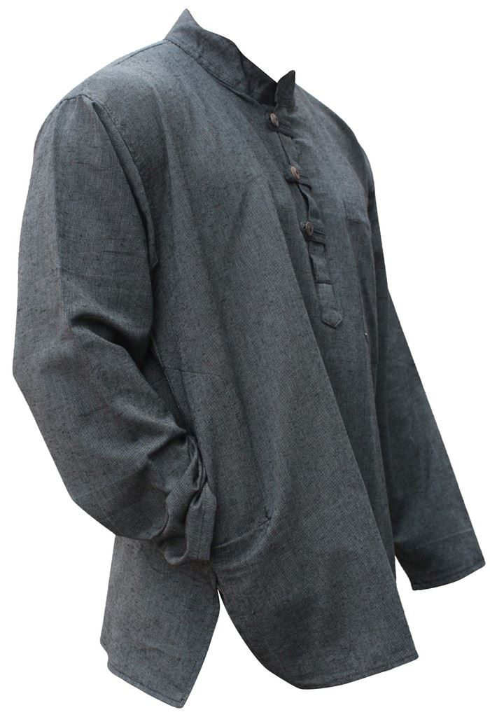 Mens-Plain-Hemp-Collarless-Grandad-Shirt-Full-Sleeved-Hippie-Summer-Light-Tops thumbnail 15