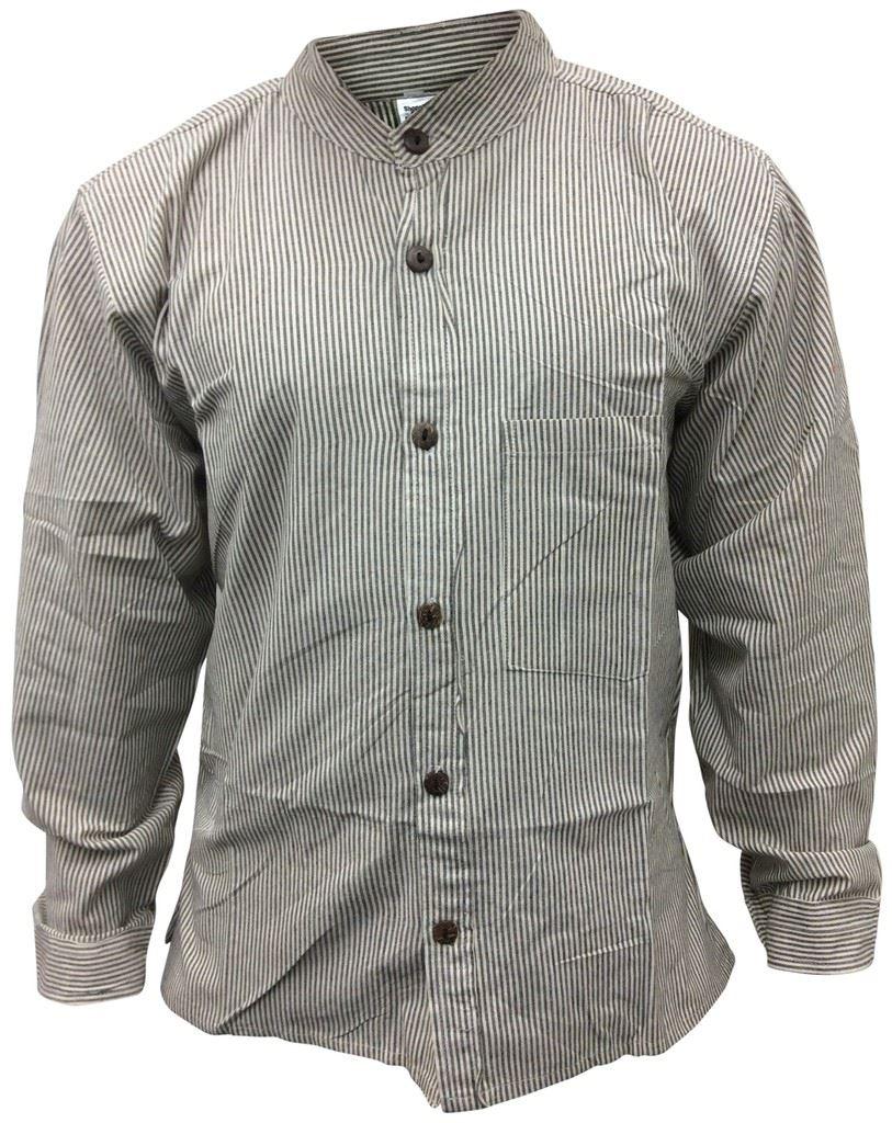 Mens collarless grandad shirt full sleeve summer stripe for Men s collarless banded collar dress shirt