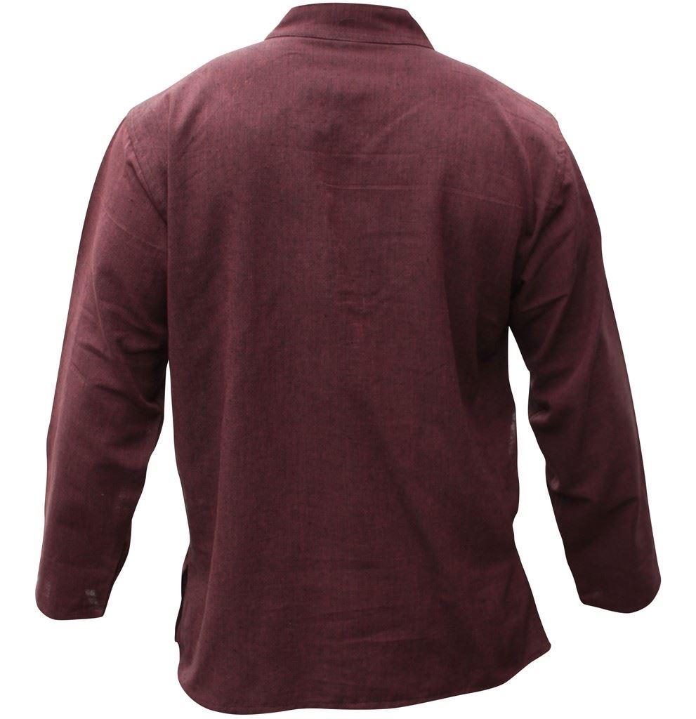 Mens-Plain-Hemp-Collarless-Grandad-Shirt-Full-Sleeved-Hippie-Summer-Light-Tops thumbnail 7