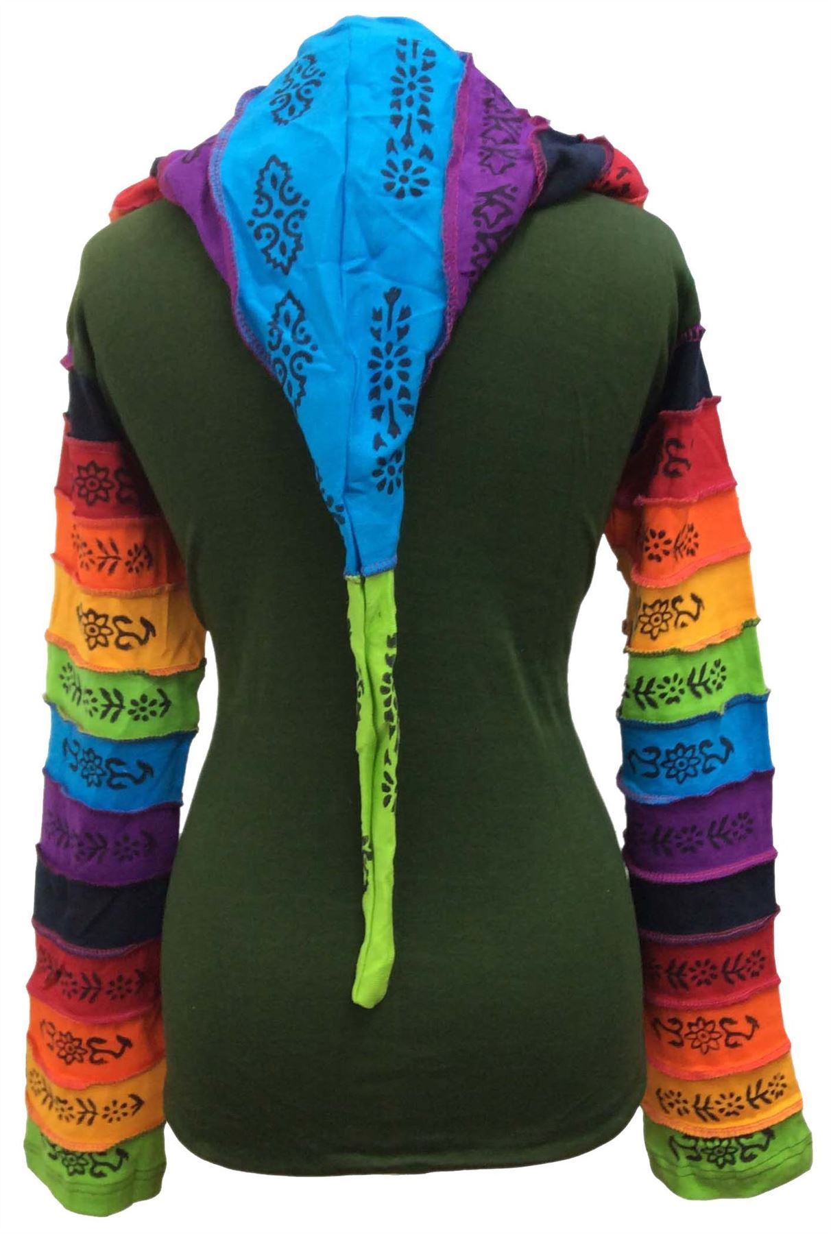 Women-Rainbow-Sleeved-Flower-Patch-Hoodie-Hippy-Light-Weight-Jacket thumbnail 6