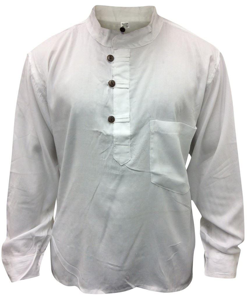 Men-Hippie-Linen-Collarless-Grandad-Shirt-Full-Sleeve-Boho-Casual-Seasonal-Tops thumbnail 26