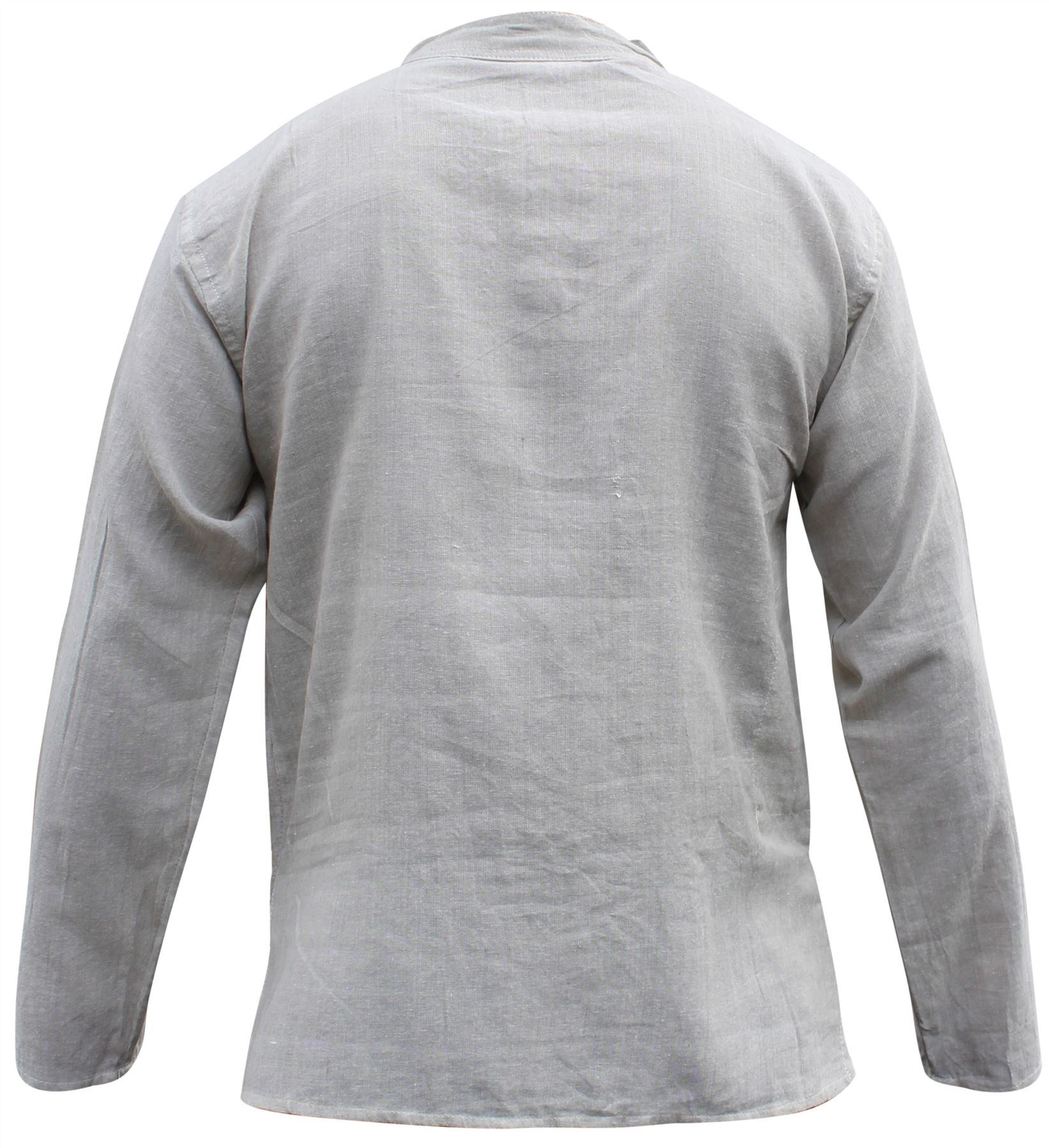 Mens-Plain-Hemp-Collarless-Grandad-Shirt-Full-Sleeved-Hippie-Summer-Light-Tops thumbnail 18