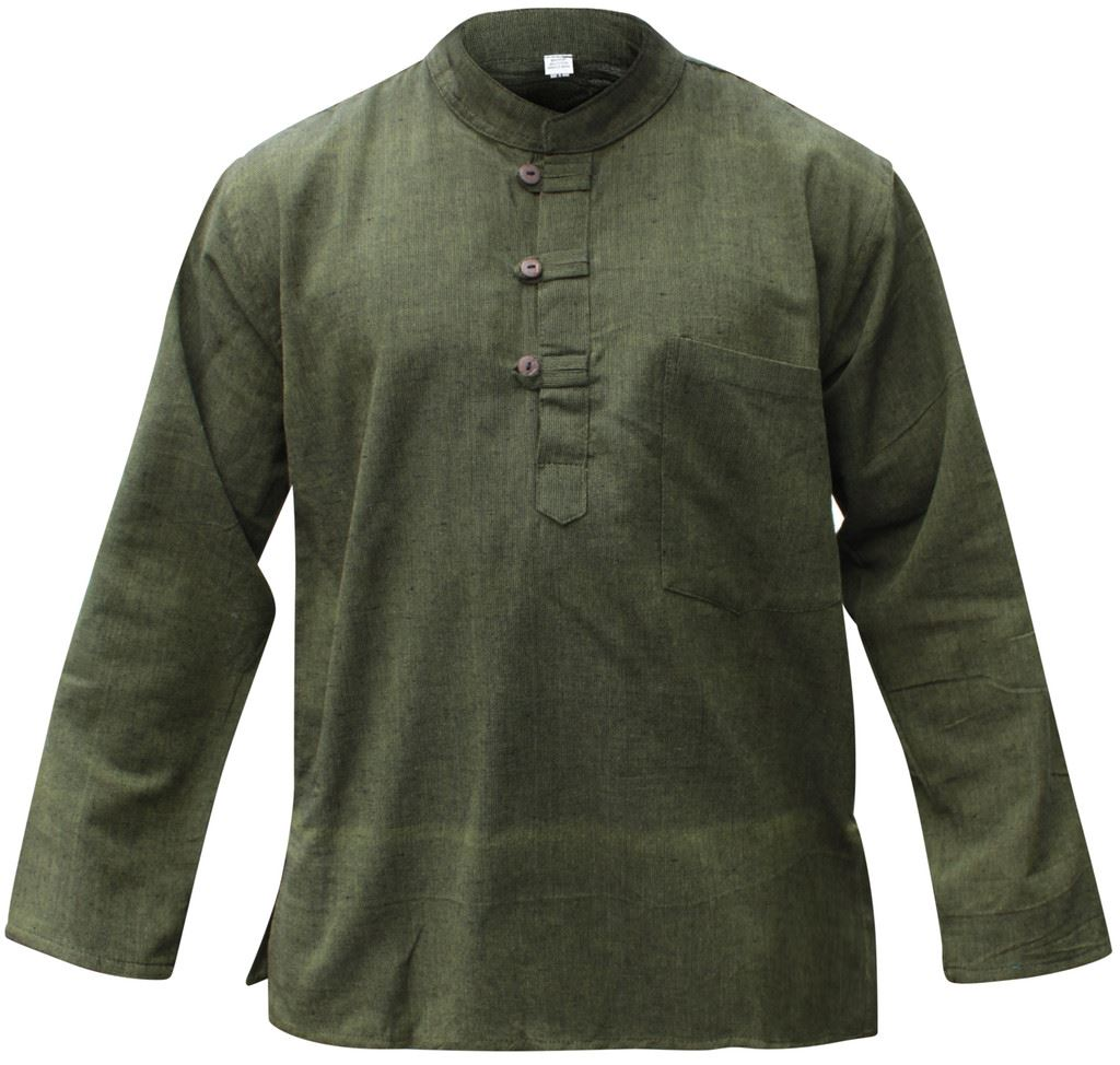 Mens-Plain-Hemp-Collarless-Grandad-Shirt-Full-Sleeved-Hippie-Summer-Light-Tops thumbnail 11