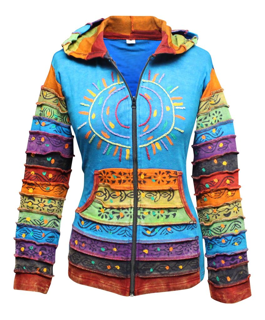 Women-039-s-Sun-Patchwork-Pixie-Hippy-Ribs-Hoodie-Light-Cotton-Hippie-Faded-Jacket thumbnail 17