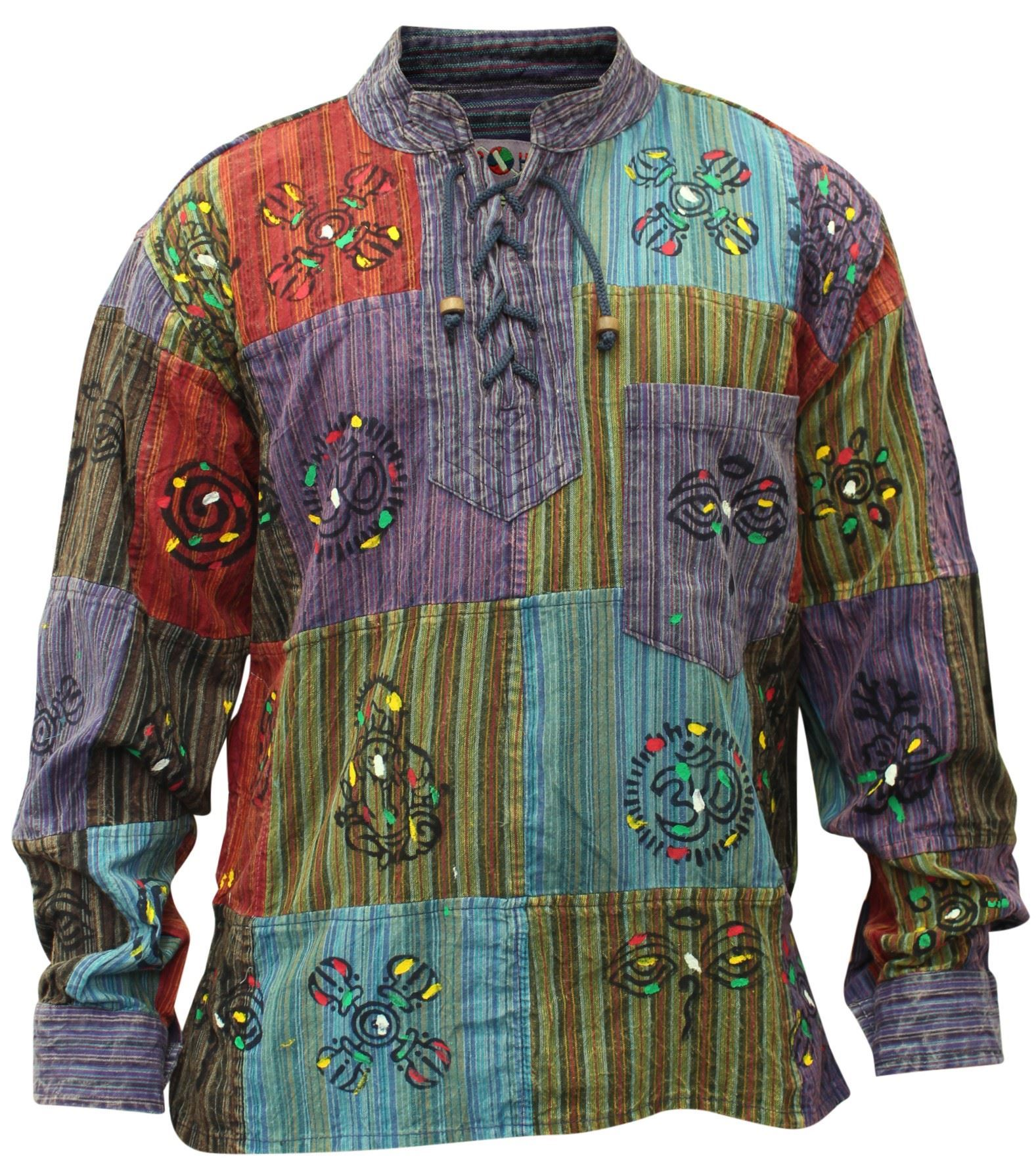 Mens Patchwork Stonewashed Hippie Collarless Grandad Shirt ...