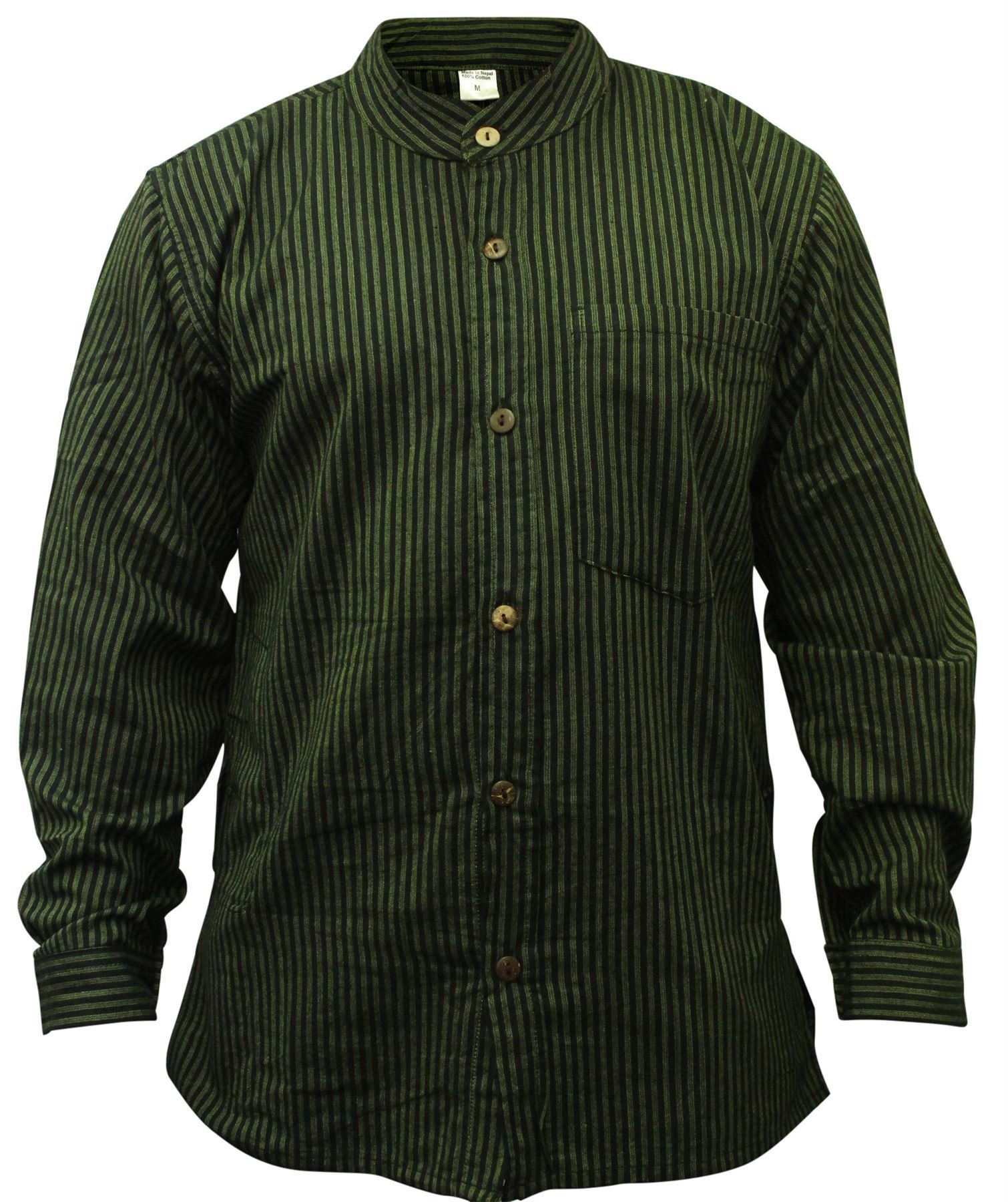 Irish Collarless Grandad Shirts Genuine traditional Irish collarless grandad shirts, some by Lee Valley from Cork and some by Magees of Donegal. Beautifully comfortable any time of year, these Grandad collar shirts are a casual, relaxed fit.