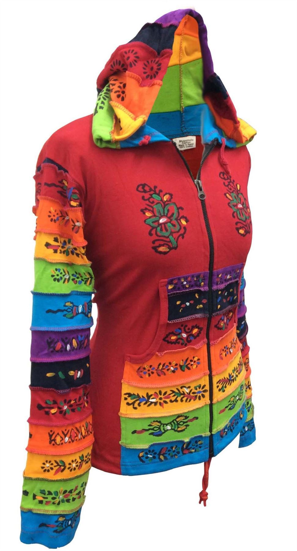 Women-Rainbow-Sleeved-Flower-Patch-Hoodie-Hippy-Light-Weight-Jacket thumbnail 14