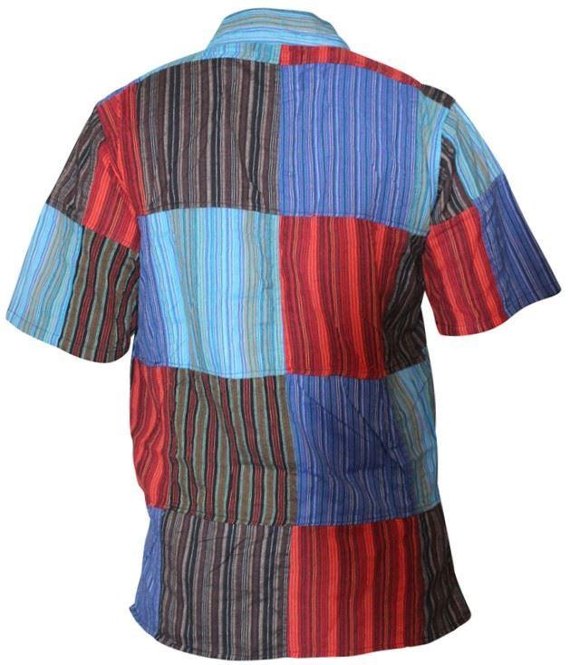 Mens-Short-Sleeved-Colorful-Hippie-Grandad-Shirt-Summer-Festival-Cotton-Men-Tops thumbnail 6