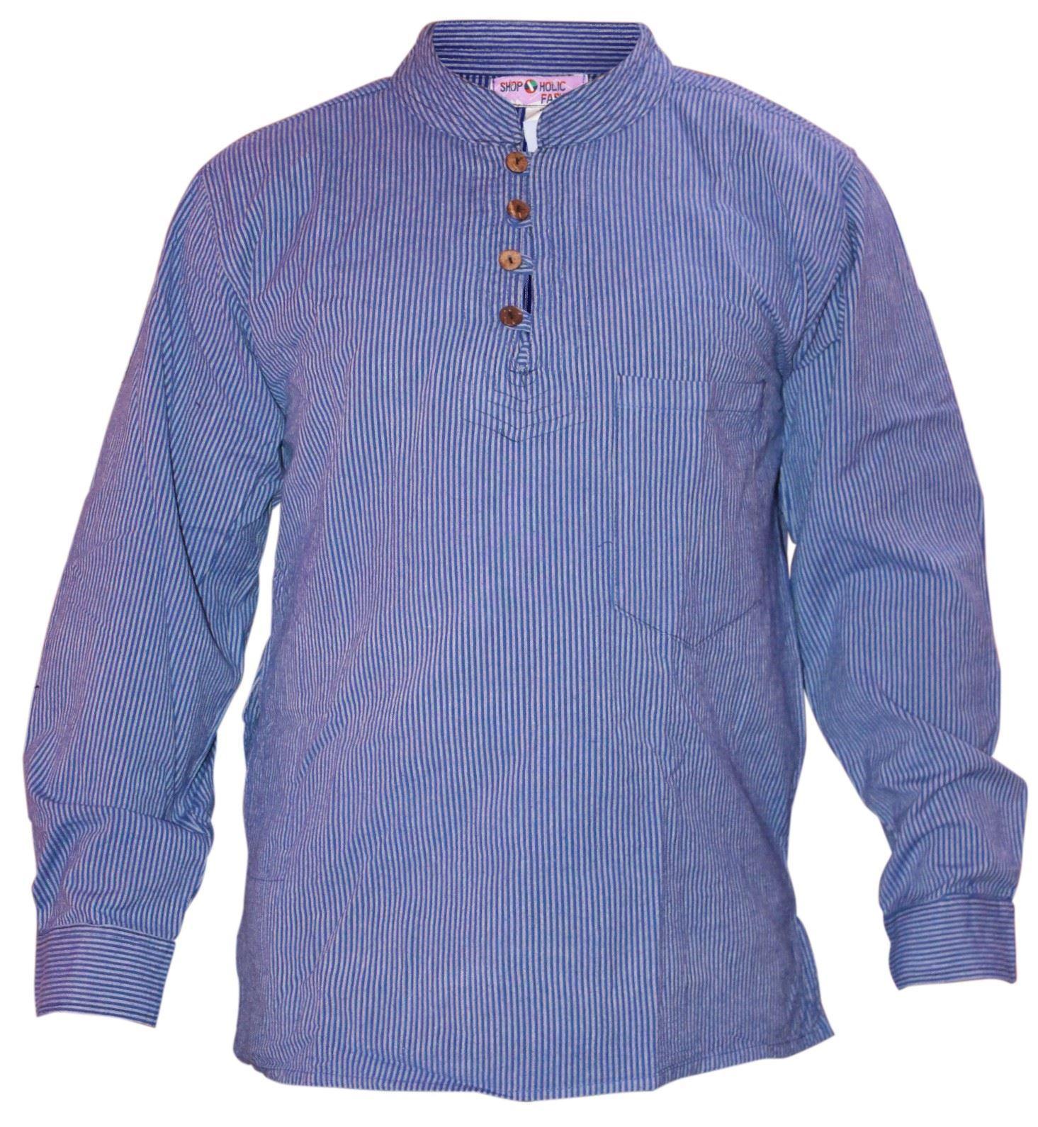 Shopoholic-Fashion-Mens-Summer-Stripy-Shirt-Full-Sleeve-Hippie-Tops thumbnail 6