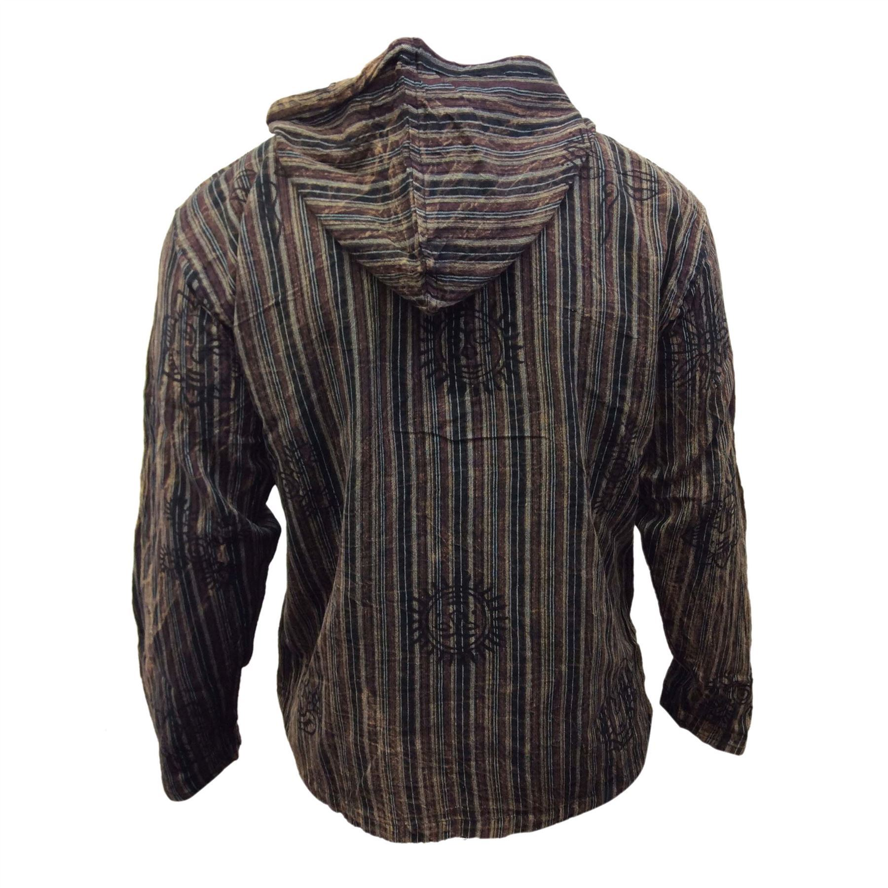 Mens-Stonewashed-Striped-Hooded-Grandad-Shirt-Long-Sleeve-Casual-Hooded-Top thumbnail 10