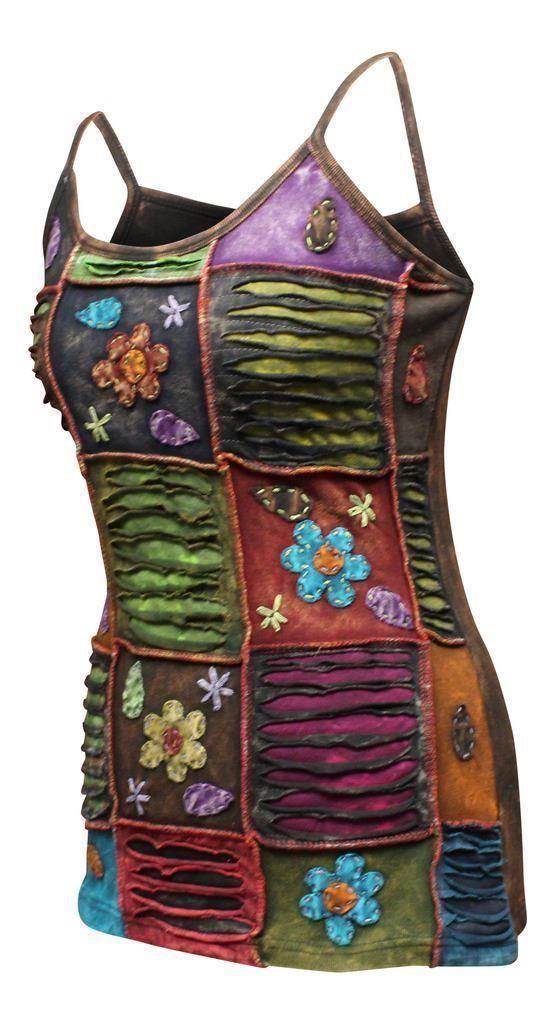 thumbnail 4 - Multicolored-Stonewashed-Sleeveless-Hippy-Women-Tank-Tops-Boho-Festival-vest