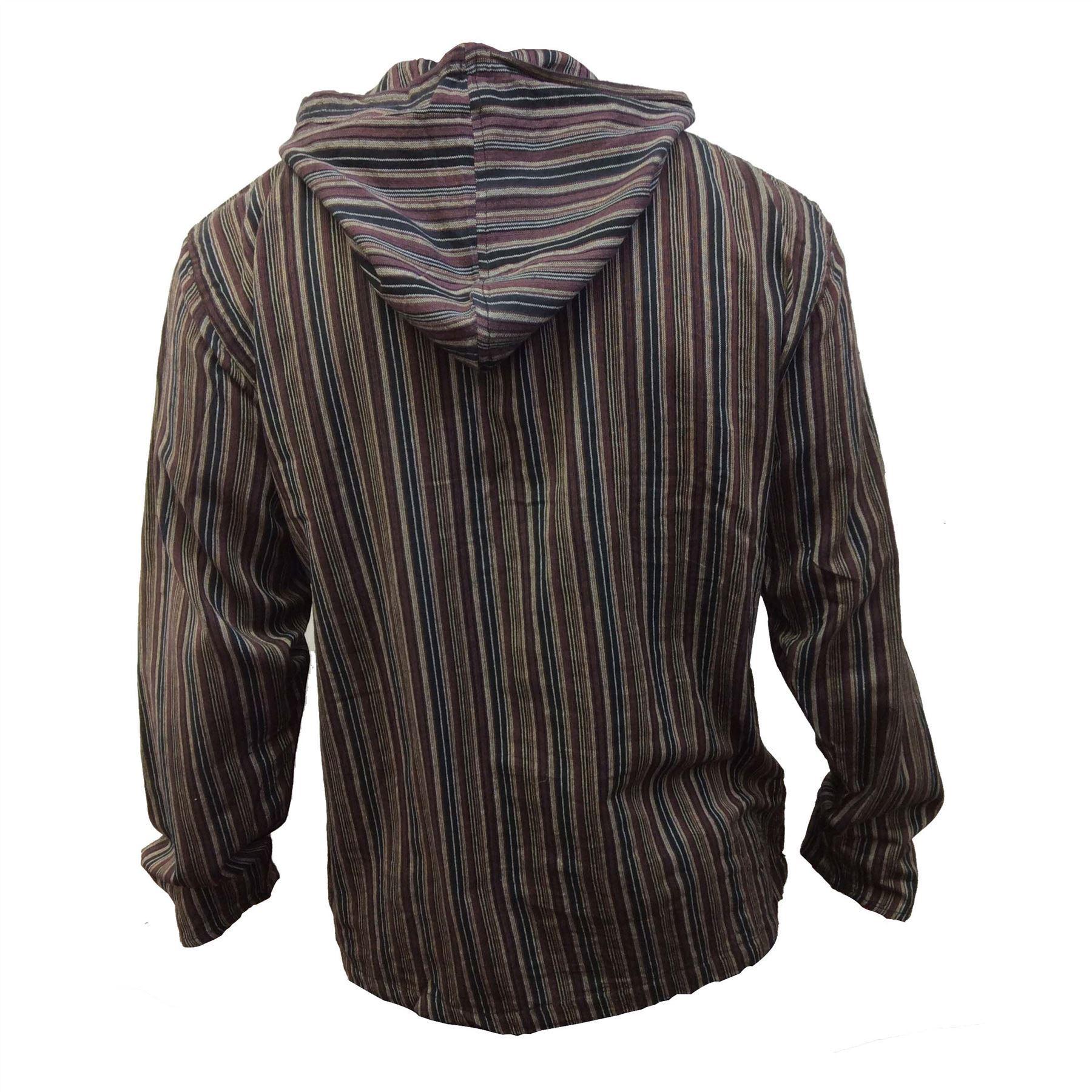Men-039-s-Cotton-Grandad-Shirt-Full-Sleeved-Hippie-Top-Festival-Stripe-Hippy-Hoodie thumbnail 11