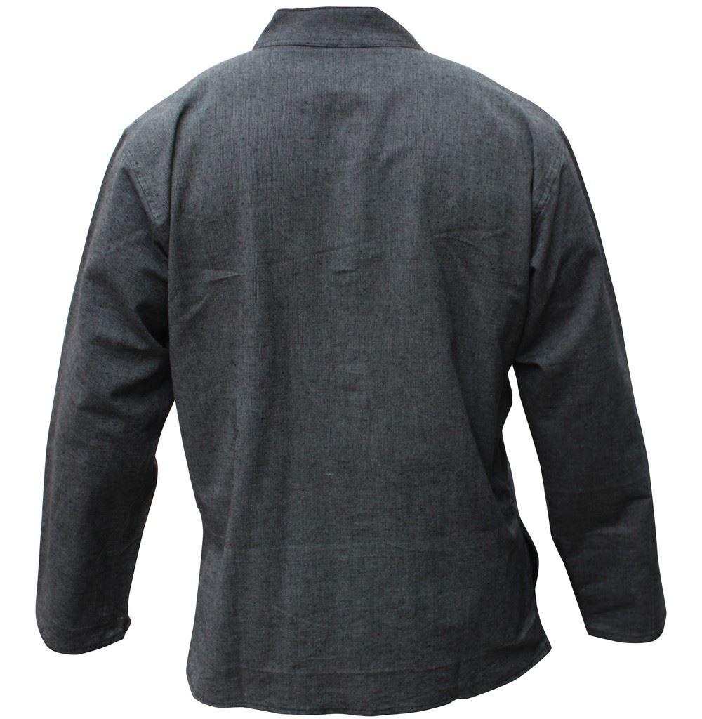 Mens-Plain-Hemp-Collarless-Grandad-Shirt-Full-Sleeved-Hippie-Summer-Light-Tops thumbnail 16