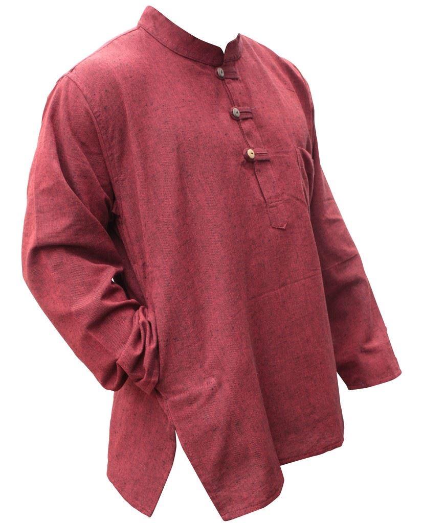 Mens-Plain-Hemp-Collarless-Grandad-Shirt-Full-Sleeved-Hippie-Summer-Light-Tops thumbnail 20