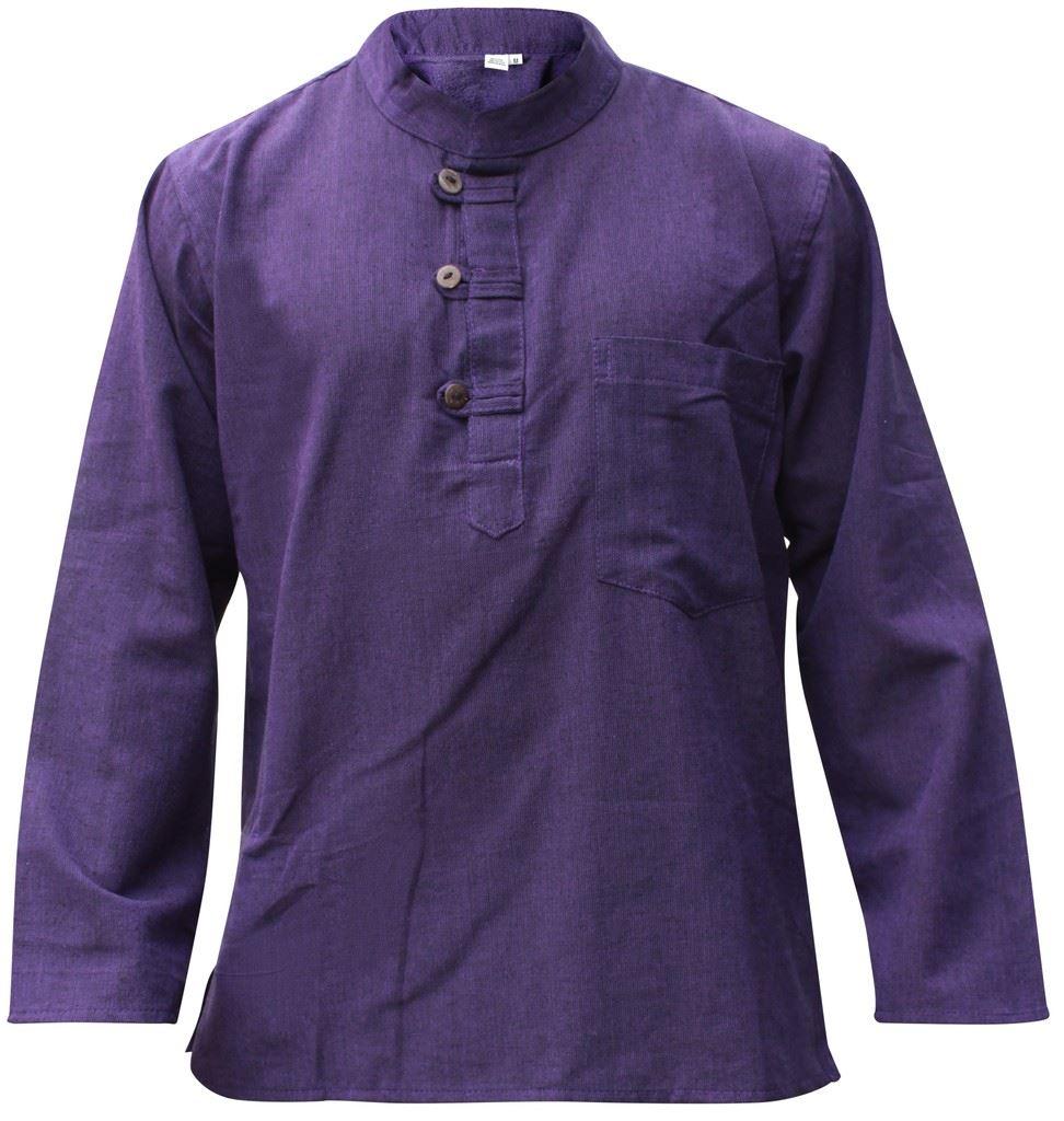 Mens-Plain-Hemp-Collarless-Grandad-Shirt-Full-Sleeved-Hippie-Summer-Light-Tops thumbnail 22