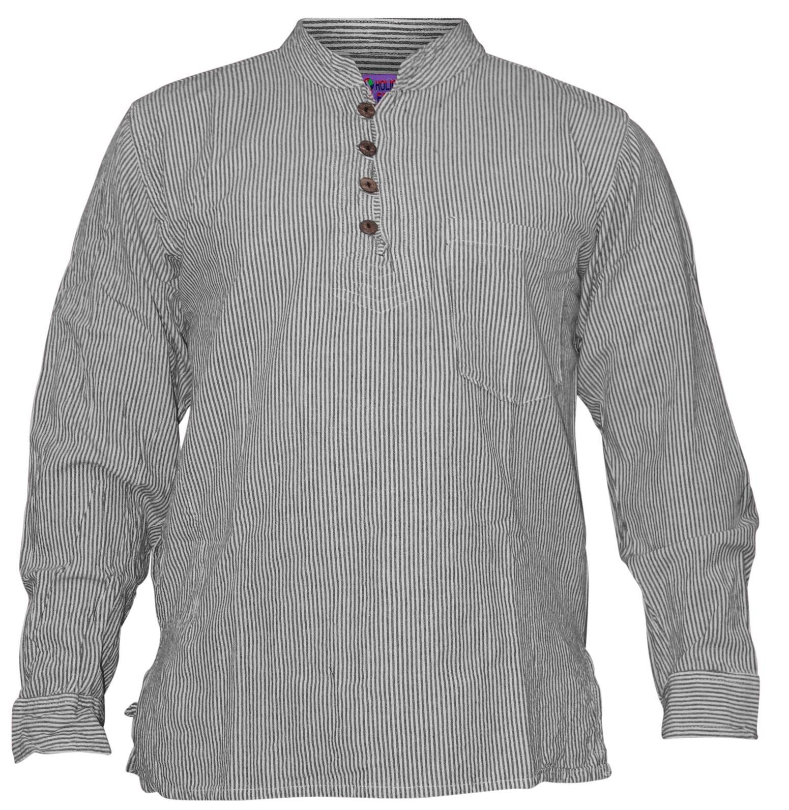 Shopoholic-Fashion-Mens-Summer-Stripy-Shirt-Full-Sleeve-Hippie-Tops thumbnail 3
