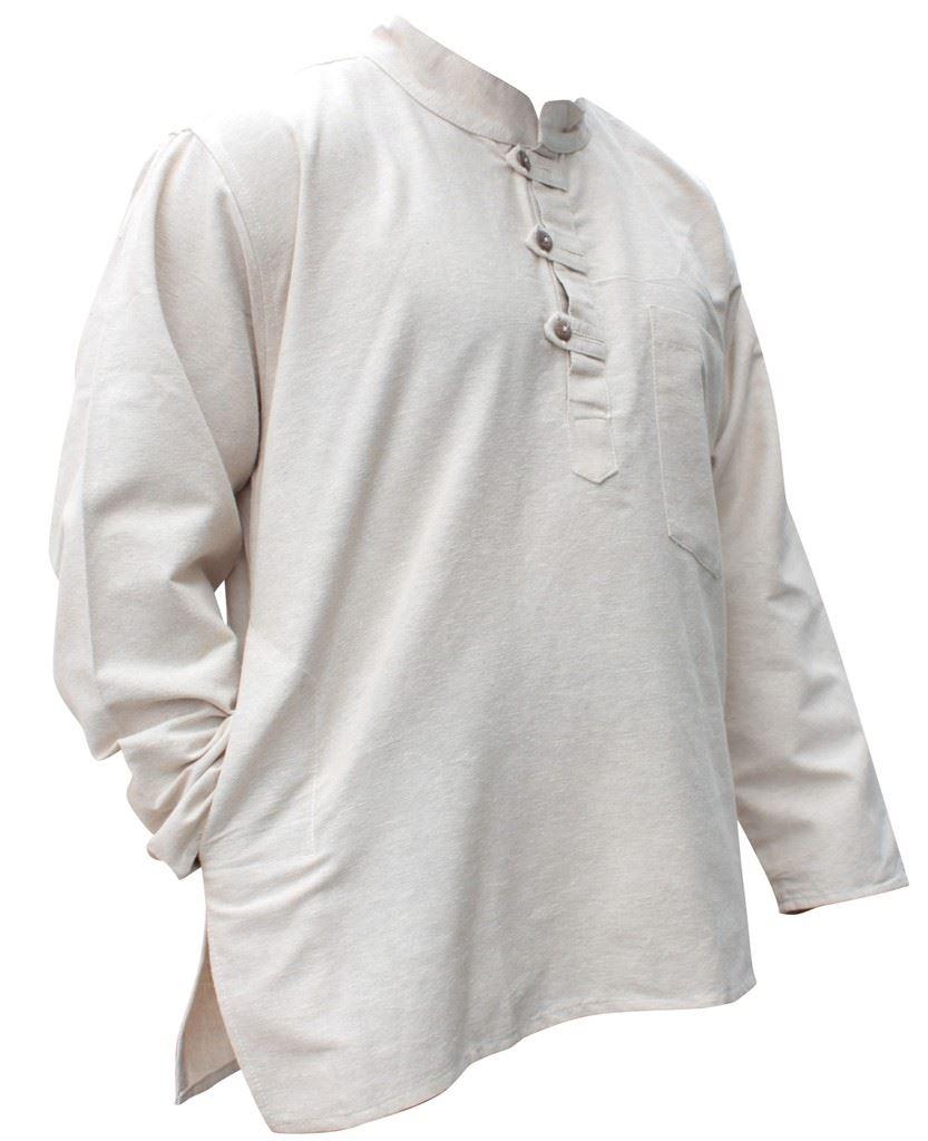 Mens-Plain-Hemp-Collarless-Grandad-Shirt-Full-Sleeved-Hippie-Summer-Light-Tops thumbnail 9