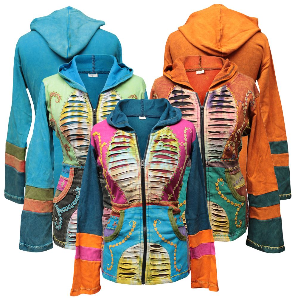 Cotton Yellow Jacket Hippie Psychedelic Goth Emo Funky Patchwork Pixie Hoodie