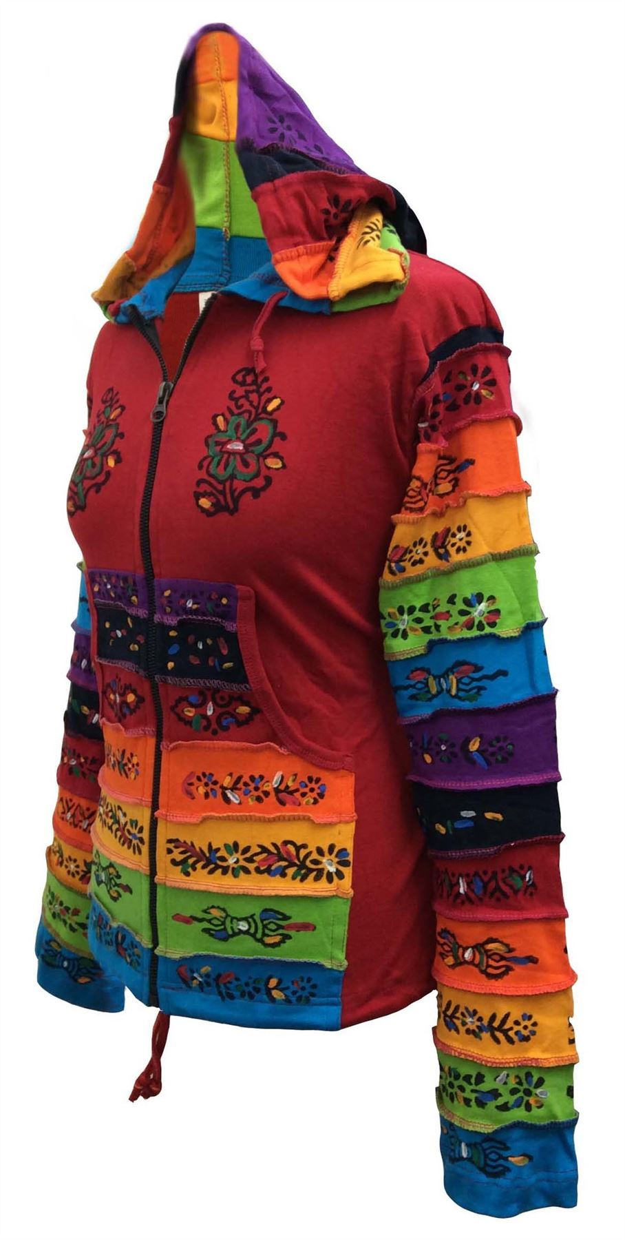 Women-Rainbow-Sleeved-Flower-Patch-Hoodie-Hippy-Light-Weight-Jacket thumbnail 15