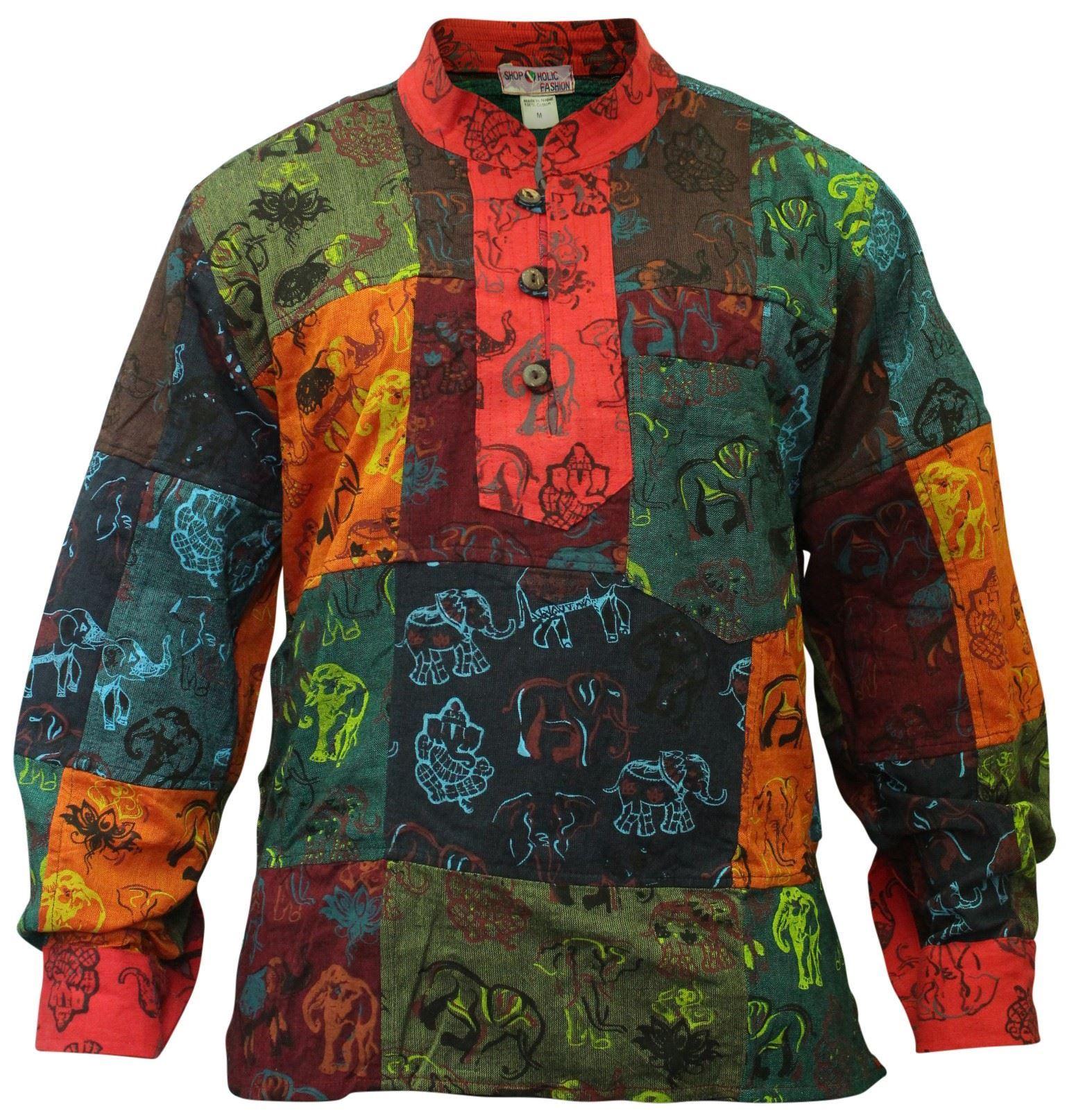 Mens-Collarless-Patchwork-Festival-Vintage-Summer-Colourful-Grandad-Hippie-Shirt thumbnail 7