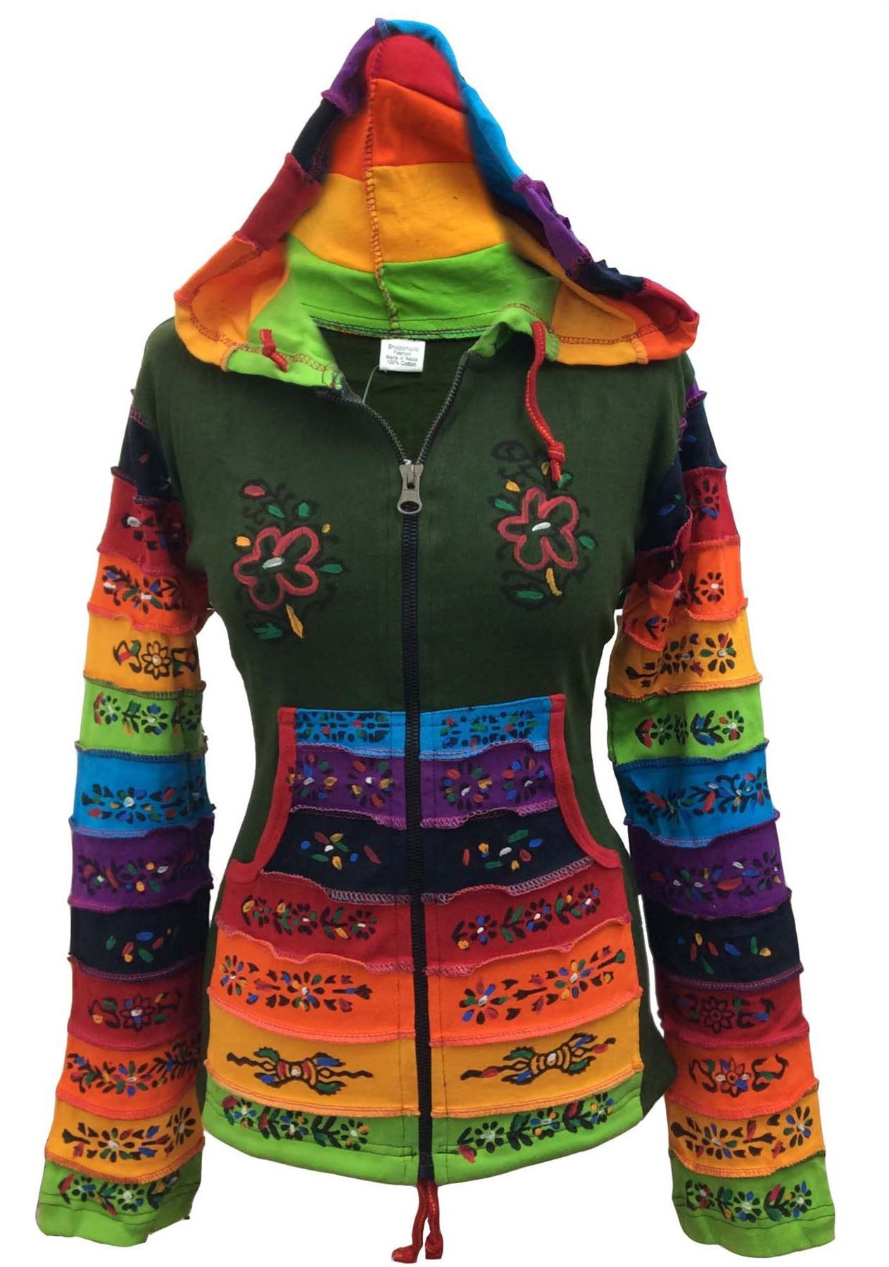 Women-Rainbow-Sleeved-Flower-Patch-Hoodie-Hippy-Light-Weight-Jacket thumbnail 4