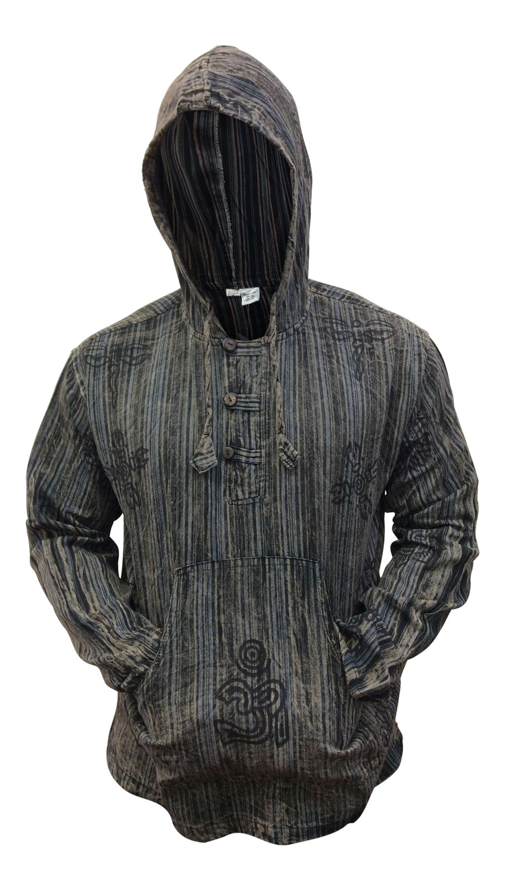 Mens-Stonewashed-Striped-Hooded-Grandad-Shirt-Long-Sleeve-Casual-Hooded-Top thumbnail 4