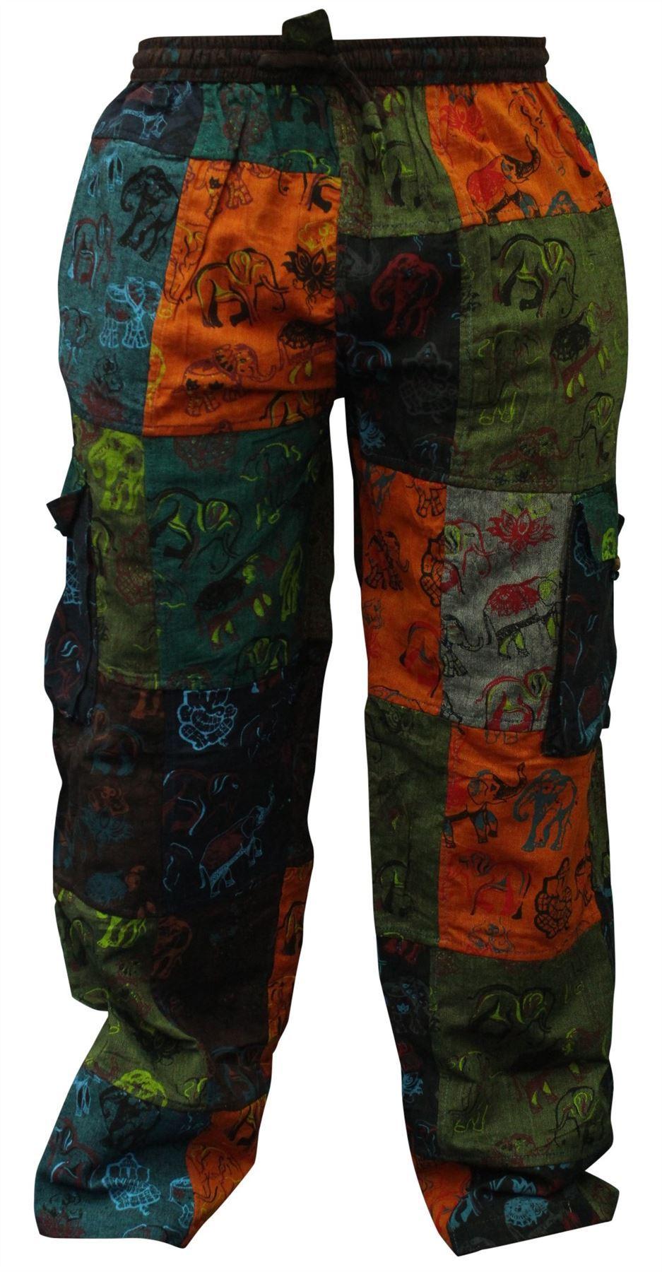 Mens Summer Hippie Cargo Pockets Combat Trousers Patchwork