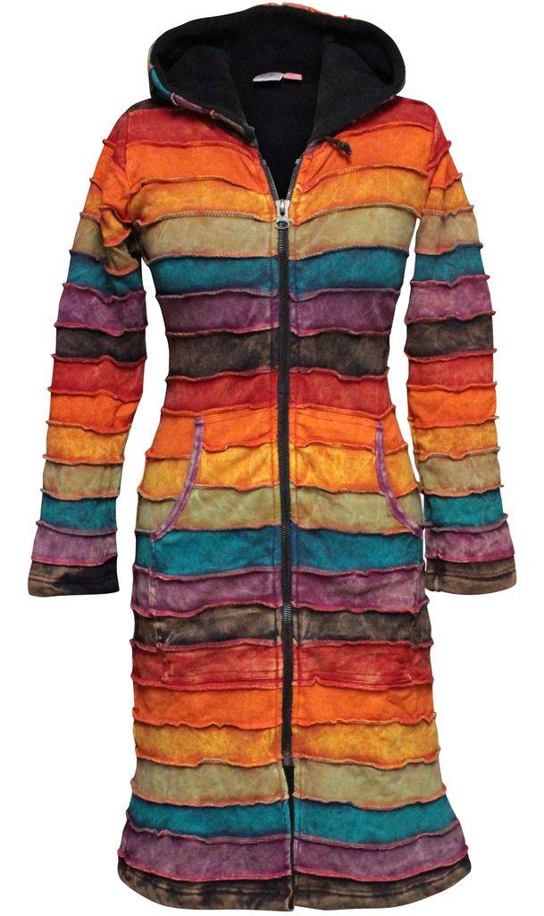 Rainbow-Striped-Pixie-Emo-Hoodie-Women-Sweater-Over-Coat-Long-Hippie-Jacket-Tops thumbnail 4
