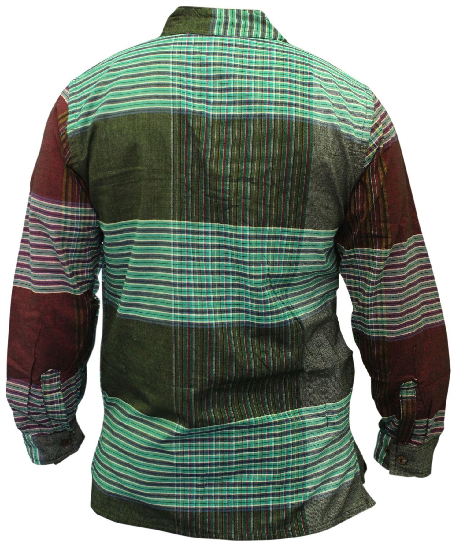 Da-Uomo-Senza-Colletto-Camicia-a-quadrettoni-Hippy-Grandad-completo-maniche-lunghe-Boho-Casual-Tops miniatura 4