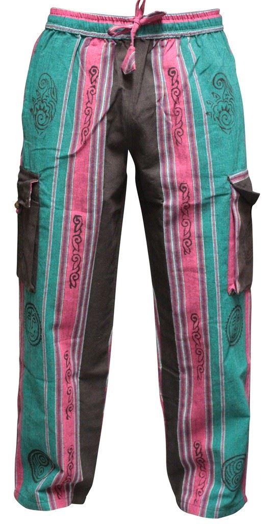 Mens Patchwork Cargo Pockets Hippie Trousers Festival