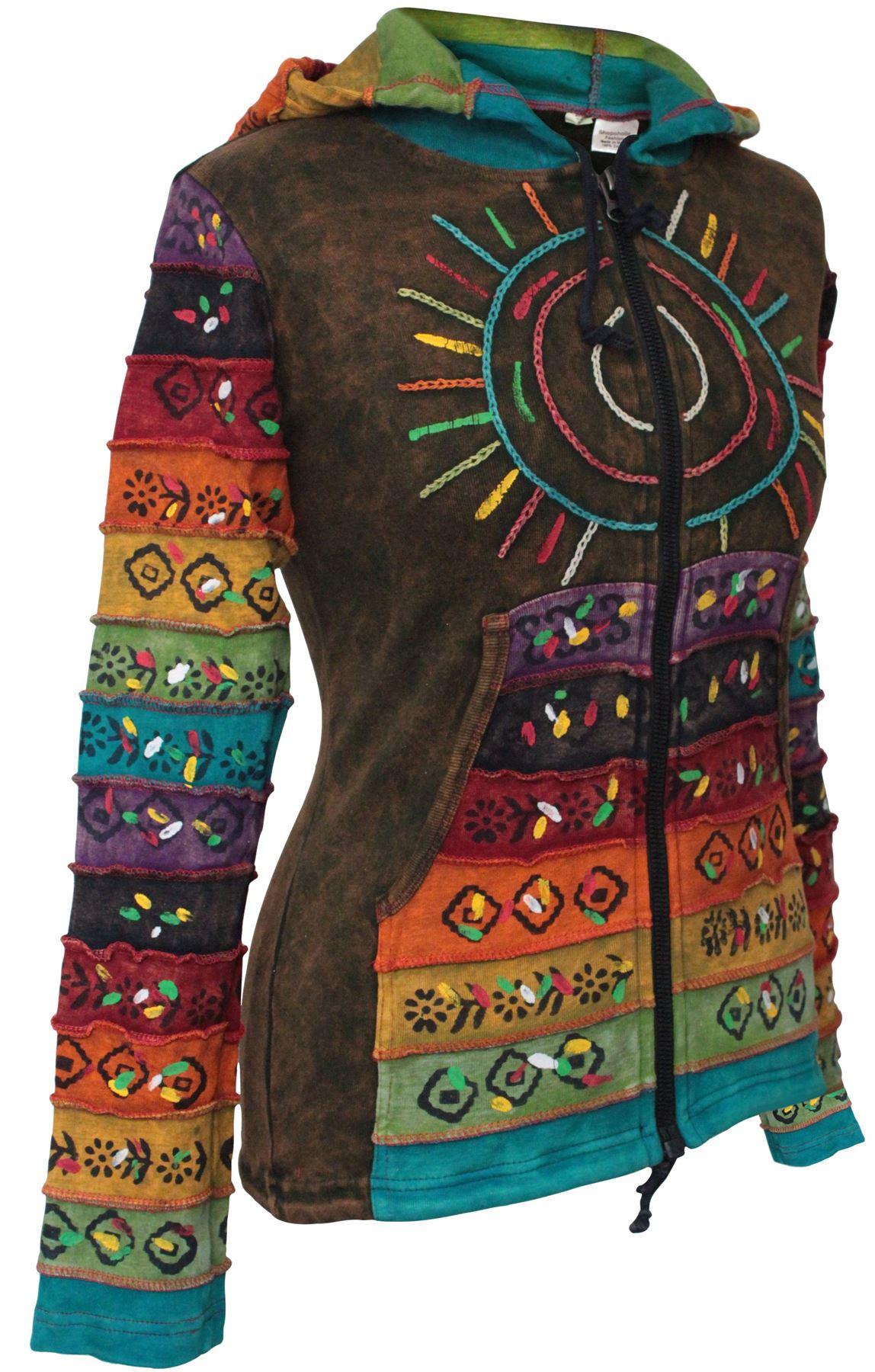 Women-039-s-Sun-Patchwork-Pixie-Hippy-Ribs-Hoodie-Light-Cotton-Hippie-Faded-Jacket thumbnail 9