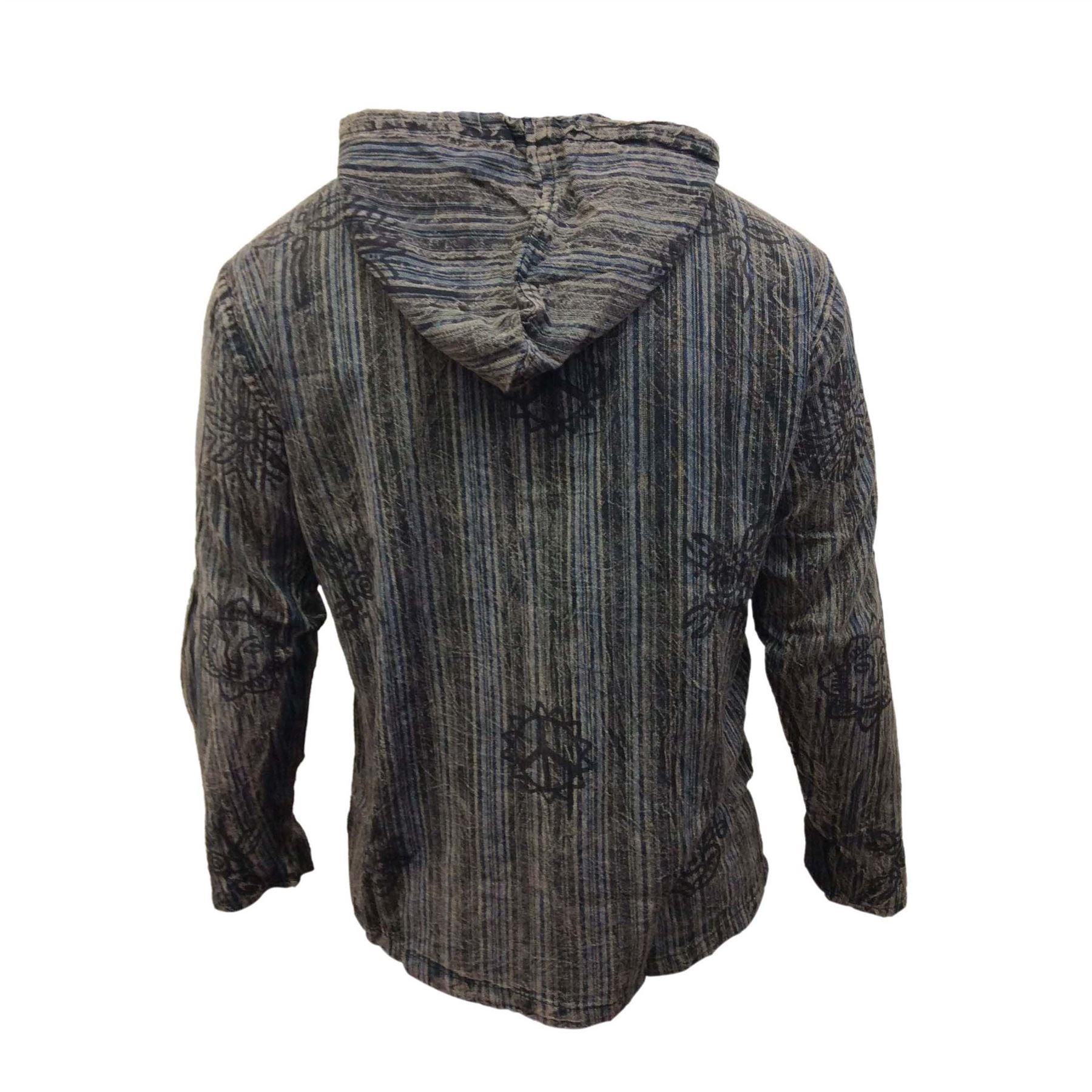 Mens-Stonewashed-Striped-Hooded-Grandad-Shirt-Long-Sleeve-Casual-Hooded-Top thumbnail 3