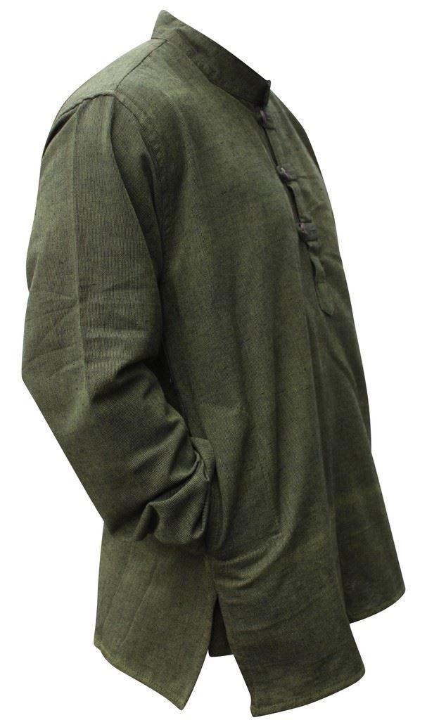 Mens-Plain-Hemp-Collarless-Grandad-Shirt-Full-Sleeved-Hippie-Summer-Light-Tops thumbnail 12