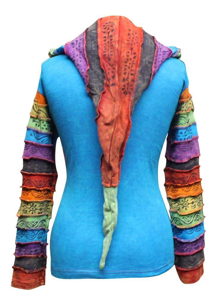 Women-039-s-Sun-Patchwork-Pixie-Hippy-Ribs-Hoodie-Light-Cotton-Hippie-Faded-Jacket thumbnail 18