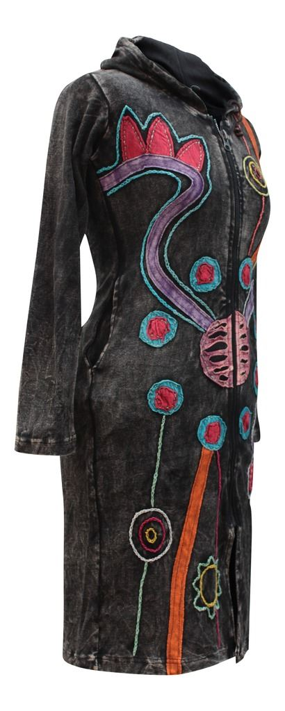 Embroidered-Goth-Vintage-Cardigan-Sweater-Faded-Hippy-Festival-Hoody-Long-Jacket thumbnail 5