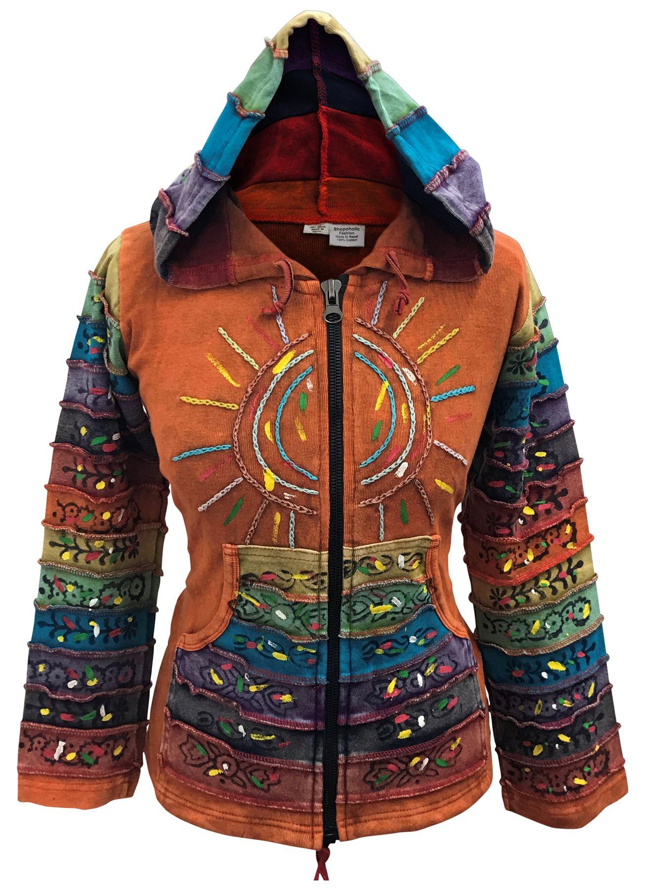 Women-039-s-Sun-Patchwork-Pixie-Hippy-Ribs-Hoodie-Light-Cotton-Hippie-Faded-Jacket thumbnail 11