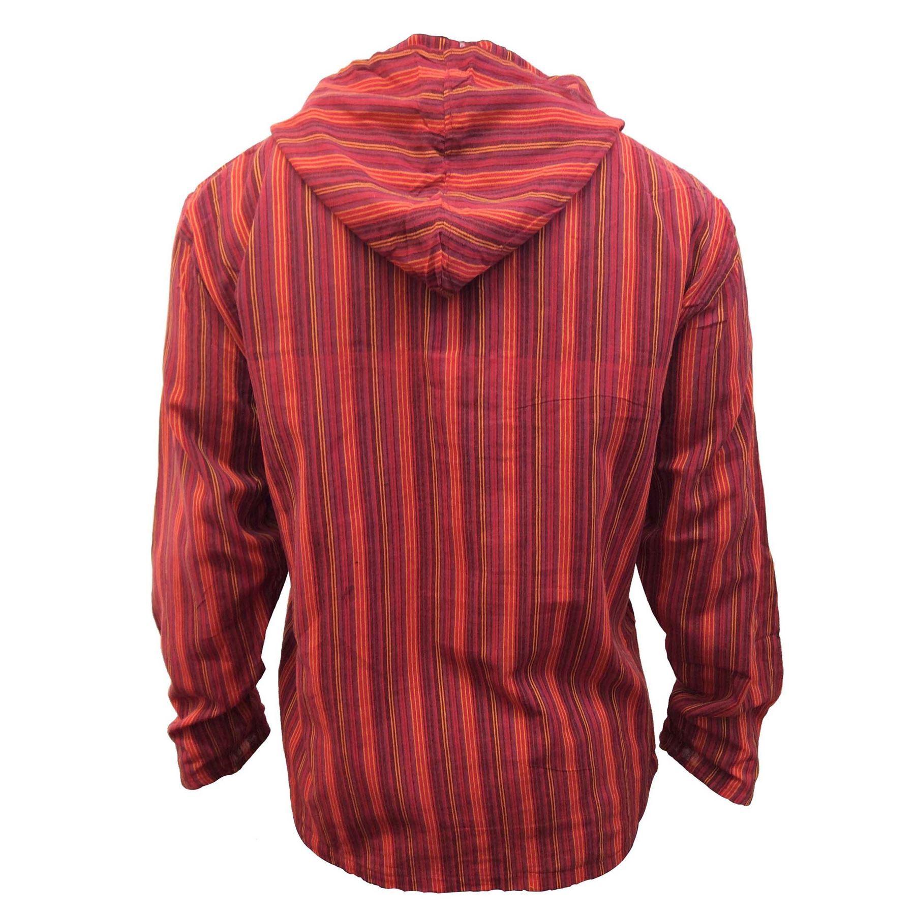 Men-039-s-Cotton-Grandad-Shirt-Full-Sleeved-Hippie-Top-Festival-Stripe-Hippy-Hoodie thumbnail 19