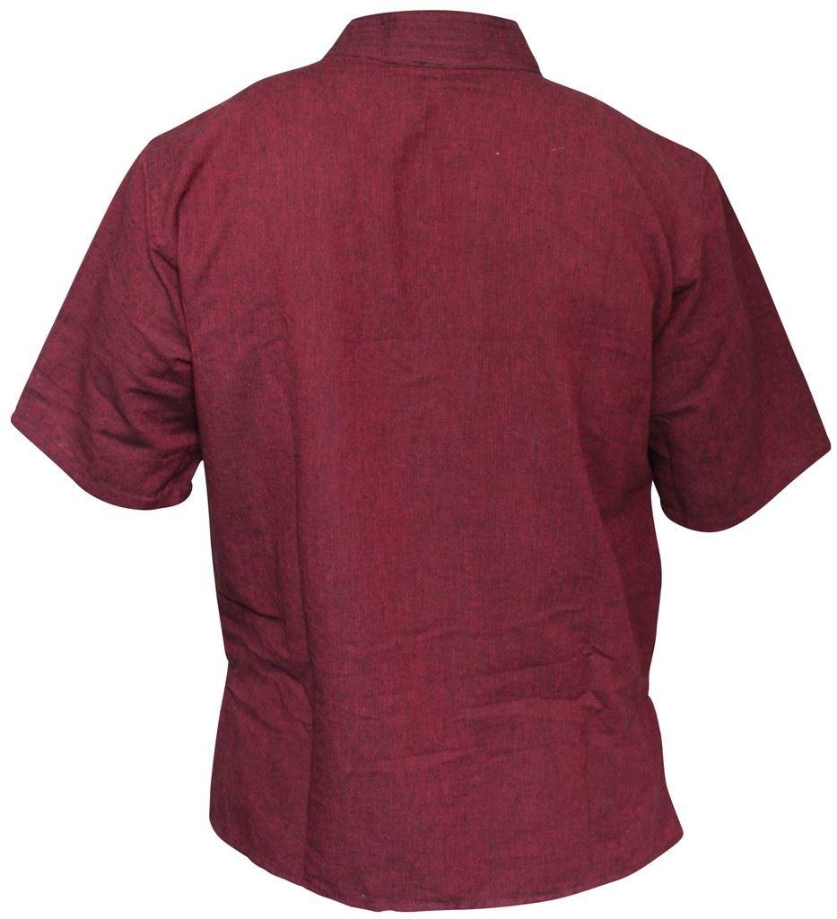 Mens-Hemp-Half-Sleeved-Hippy-Grandad-Shirts-Collarless-Ethnic-Festival-Boho-Tops thumbnail 11