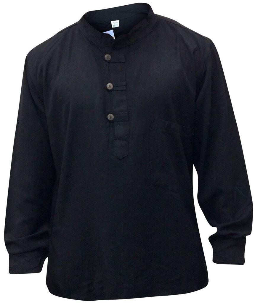 Men-Hippie-Linen-Collarless-Grandad-Shirt-Full-Sleeve-Boho-Casual-Seasonal-Tops thumbnail 7