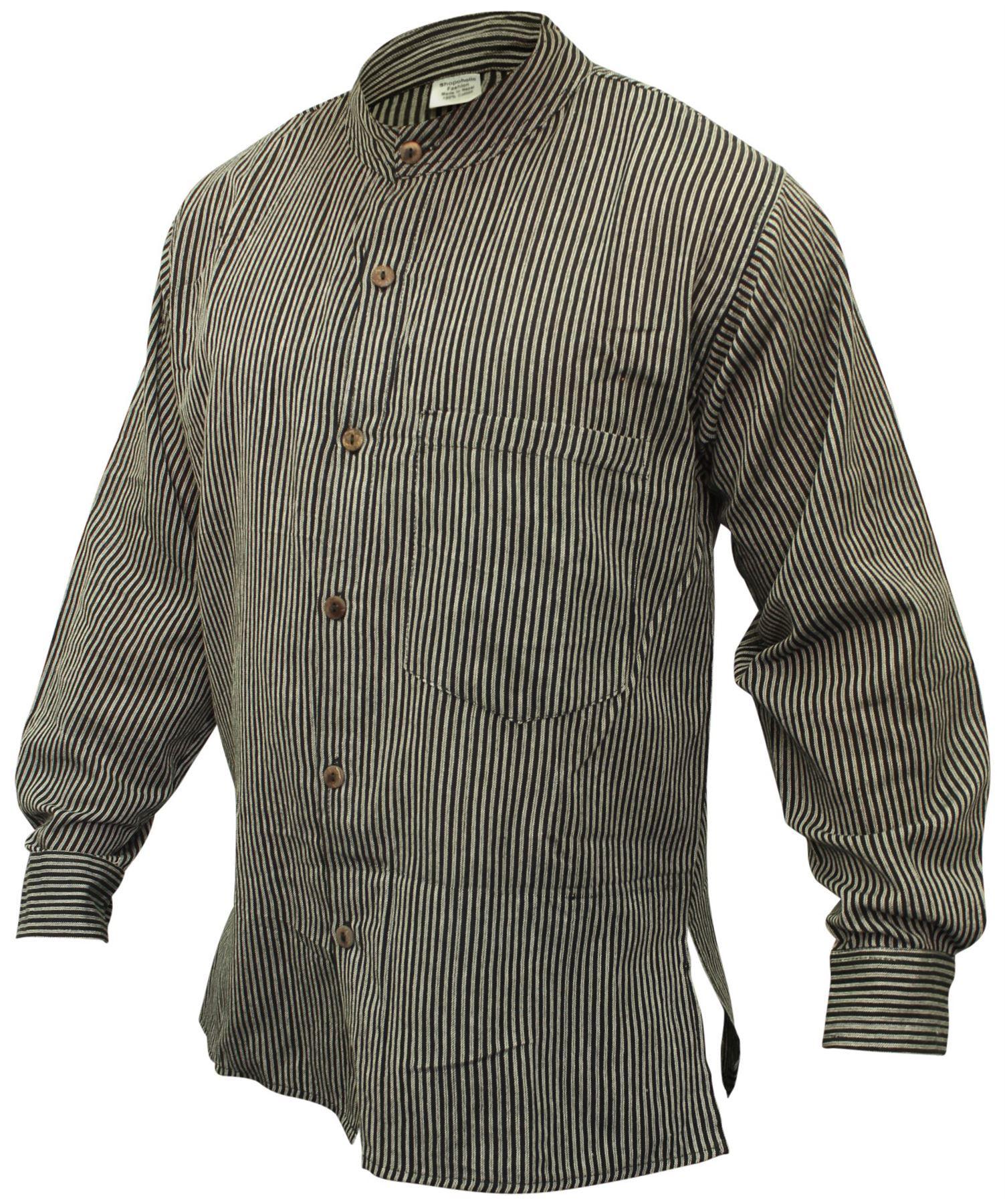 9b0e4ee1378ae4 Mens Collarless Stripe Grandad Hippie Shirt Boho Hippy Mens Full ...