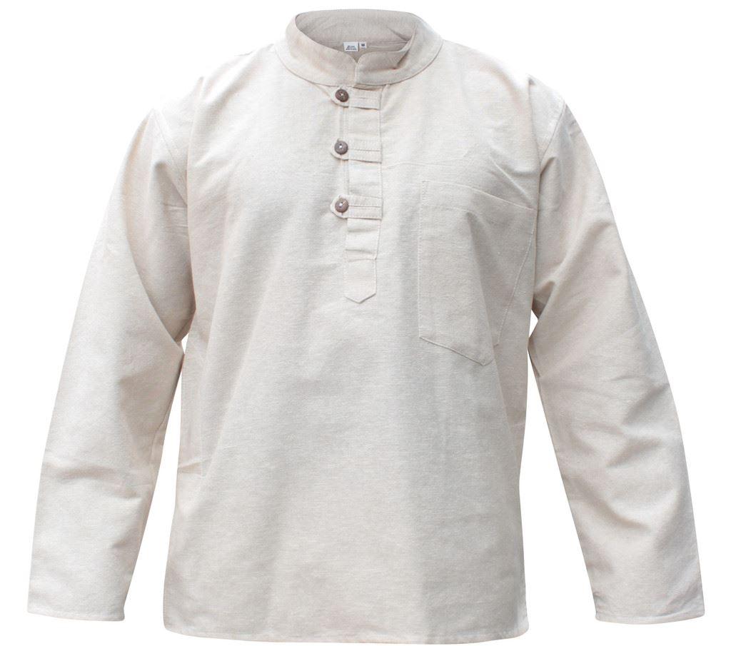 Mens-Plain-Hemp-Collarless-Grandad-Shirt-Full-Sleeved-Hippie-Summer-Light-Tops thumbnail 8